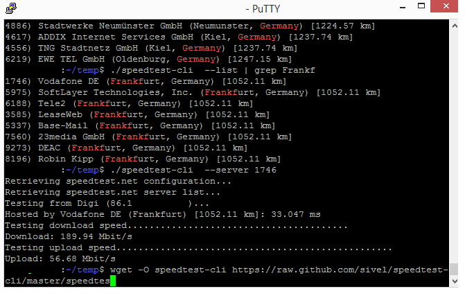 internet speed test linux command line