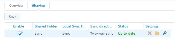 configure Synology NAS sync task